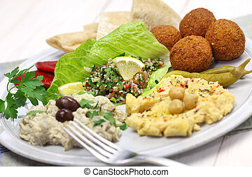 middle eastern cuisine - hummus, falafel, baba ghanoush,...