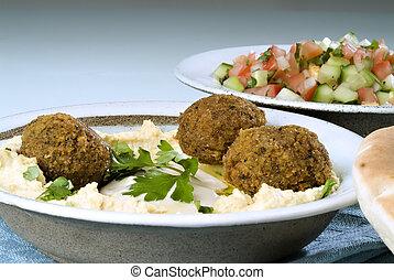 hummus, falafel, y, árabe, ensalada