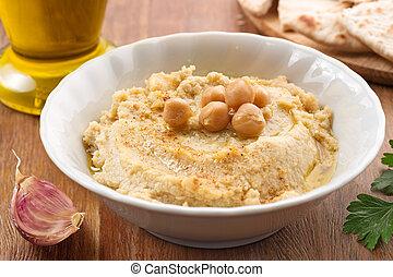 hummus, ingredientes, e, fatias, de, pita