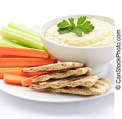 hummus, mit, pitabrot, und, gemuese