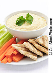 Hummus with pita bread and vegetables - Healthy snack of ...