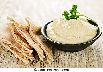 Hummus with pita bread