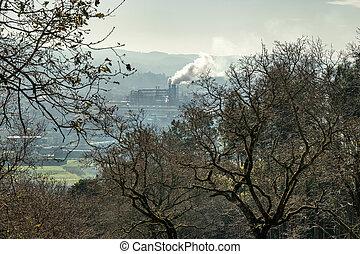 humo, emitir, escena, árboles, fábrica