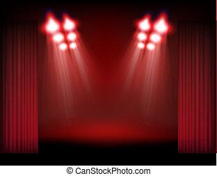 humo, luces del punto, contenido, brillante, plantilla, curtains., etapa