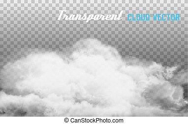 humo, vector, en, transparente, fondo.