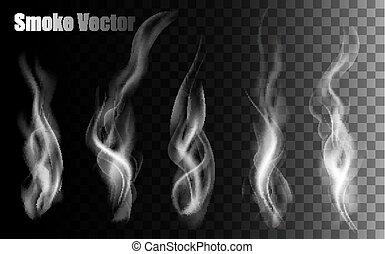 humo, vectors, en, transparente, fondo.