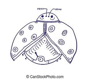 humorístico, ilustração, vetorial, ladybirds., insect., ladybug, ou, coccinellidae