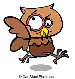 humor cartoon owl running with white background
