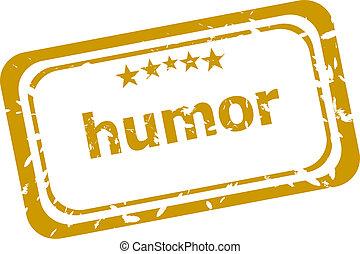 humor, estampilla, aislado, blanco, plano de fondo