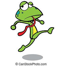 humor, frosch, rennender , hintergrund, weißes, karikatur