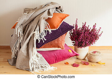 humor, hogar, flor, tiro, cómodo, cojines, colorido, hoja ...