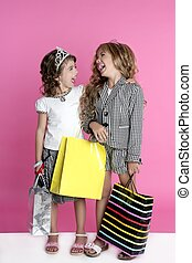 humor, litet, shopaholic, shopper, flickor