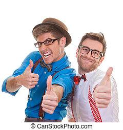 humor, mænd branche, hos, tommelfingre oppe, by, held
