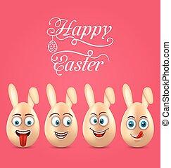 humor, pascua, invitación, con, sonriente, huevos, con, orejas