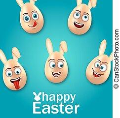 humor, pascua, tarjeta, con, alegre, huevos, con, orejas