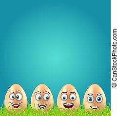 humor, pascua, tarjeta, con, loco, huevos, en, pasto o...