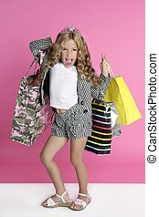 humor, poco, shopaholic, niña, comprador
