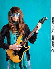 humor retro vintage hip heavy seventies guitar player with...