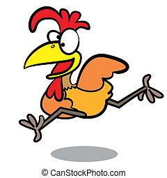 humor, spotprent, rennende , achtergrond, chicken, witte