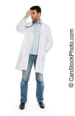humoristisch, verticaal, van, een, jonge, terneergeslagen, chirurg, met, een, stethoscope