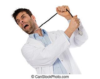 humoristisch, verticaal, van, een, jonge, terneergeslagen, zelfmoord, chirurg, met, een, stethoscope, op, zijn, hals