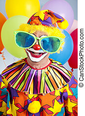 Humorous Birthday Clown - Funny birthday clown wearing over-...