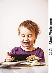 (humorous, goed, rijkdom, zakelijk, succes, zeer, concept., dollar, telefoon, bankpapier, vieren, picture), baby, management, meisje, news., smart, vrolijke