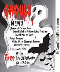 Humorous Halloween Menu - Humorous menu for Halloween...
