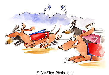 dachshund dogs race - humorous illustration of dachshund...