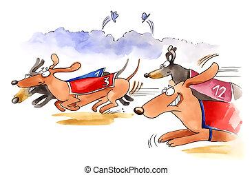 dachshund dogs race - humorous illustration of dachshund...