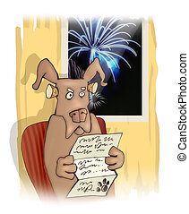dog and fireworks - humorous illustration of disgusted dog...