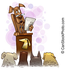 dog giving a speech - humorous Illustration of dog giving a ...
