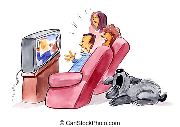 family watching television and bored dog - humorous...