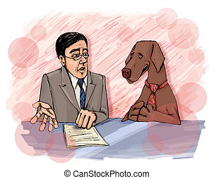 interview with dog on television - humorous illustration of...