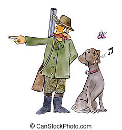 retriever dog on hunting - humorous illustration of...