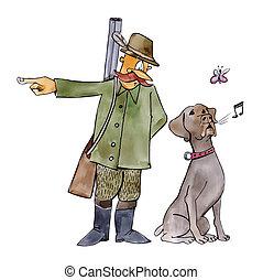 retriever dog on hunting - humorous illustration of...