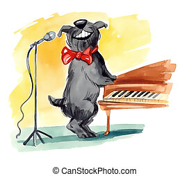 humorous illustration of shaggy dog singing closed to the piano