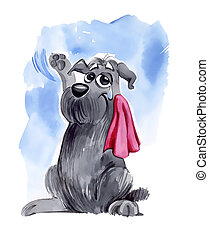 dog waving goodbye - humorous illustration of shaggy dog...