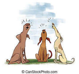 three howling dogs - Humorous illustration of three howling...