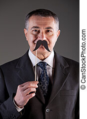 old man with carton moustaches