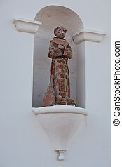 Humorous statue of saint with guitar - Ancient tile and...