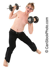 Humorous weightlifting workout images with adorable teen boy. Clipping path over white.