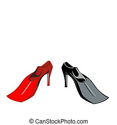 Vector illustration humor of shoe-flippers are isolated on white background.