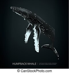 Humpback Whale Under the Sea Vector Illustration