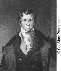 Humphrey Davy (1810-1876) on engraving from the 1800s....