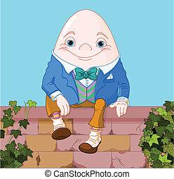 Humpty Dumpty egg sitting on a brick wall