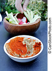humus and vegetable