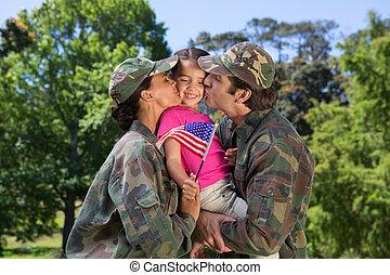 hun, dochter, ouders, herenigde, leger