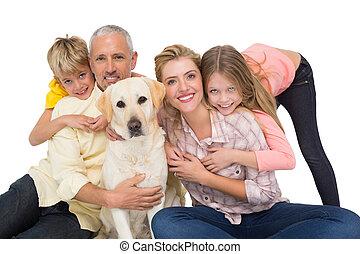 hun, dog, aanhalen, gezin, vrolijke