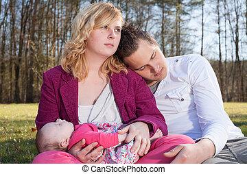 hun, het genieten van, ouders, jonge, tijd
